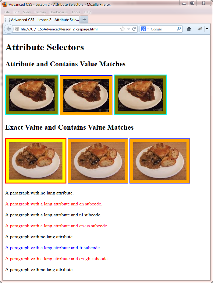 attribute selectors