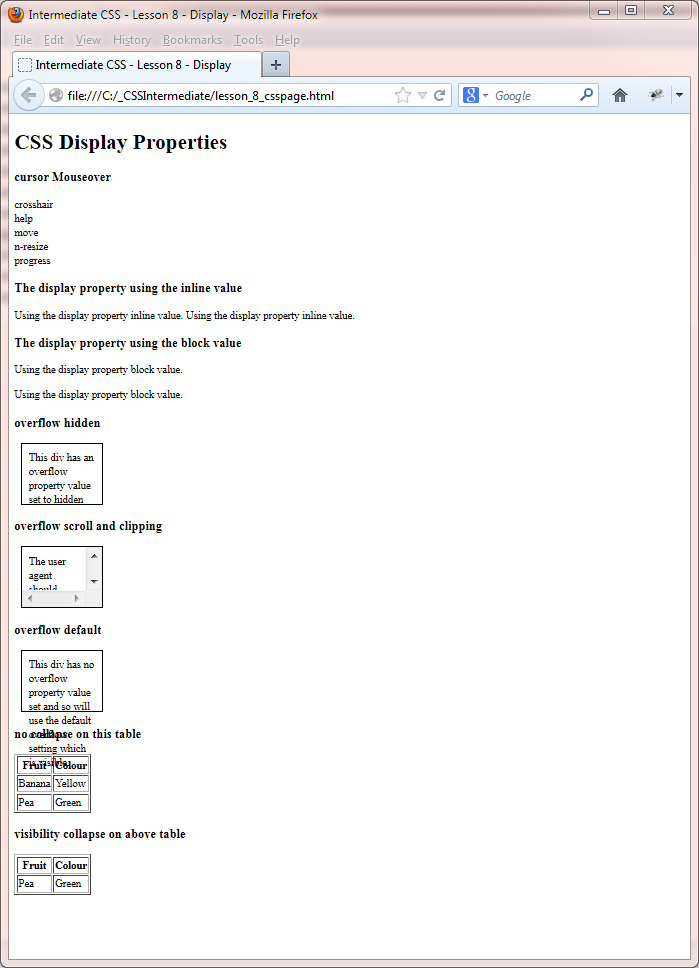 CSS Intermediate Tutorials - Display