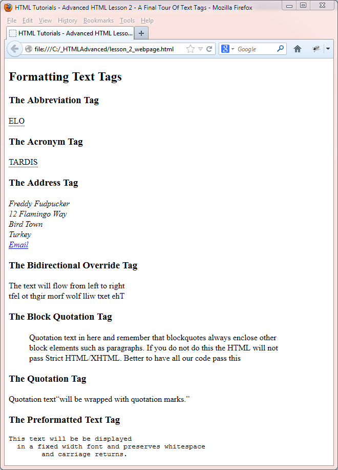 final text tags