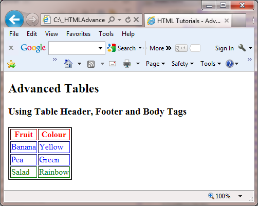 ie advanced tables