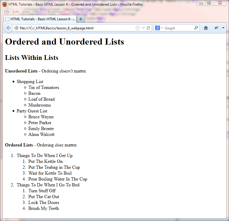HTML Basic Tutorials - Ordered and Unordered Lists