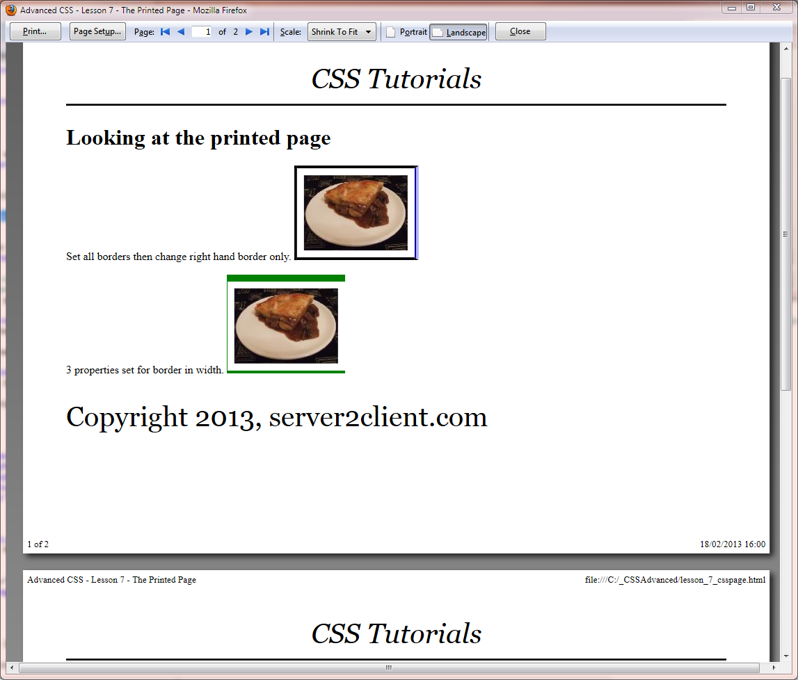 Css page break