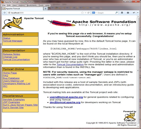 Tomcat6 welcome page
